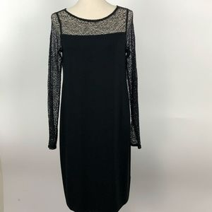Eileen Fisher Black Cocktail Dress Mesh Detail Sm